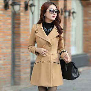 Plus Size 2016 New Fall And Winter Clothes Woman Long Design Wool Coat Female Fashion Slim Thin Long Blends Trench Overcoat G545