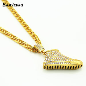 Boho Hiphop Shoe Crystal Necklaces Choker for Best Friend Steampunk Link Chain Love Necklace Man Neckless Woman Gothic Jewelry - 64 Corp