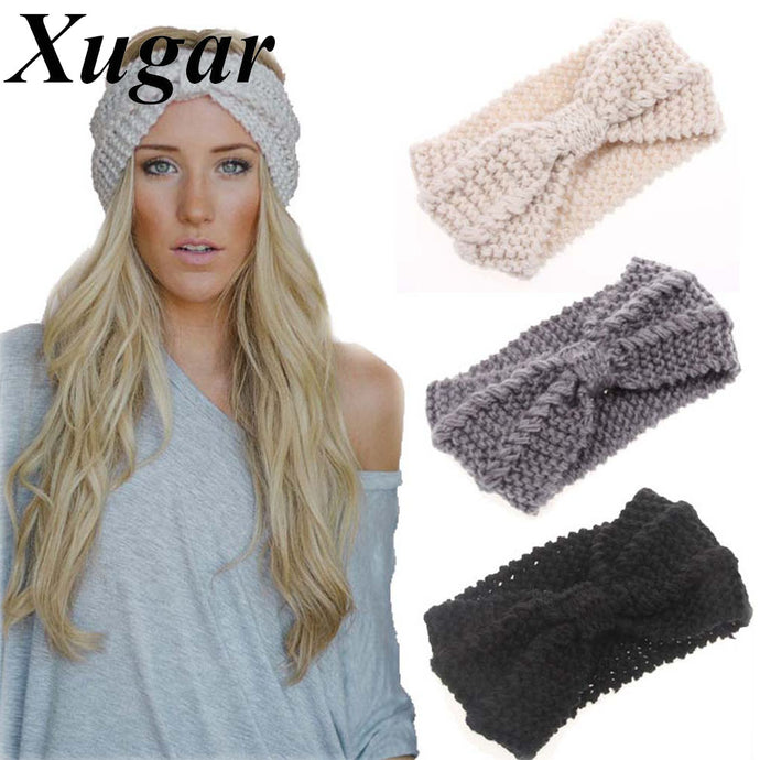 Winter New Fashion Solid Wool Warm Crochet Bow Headband For Lady Women Head Bands Knitting Headwraps Hair Accessories - 64 Corp