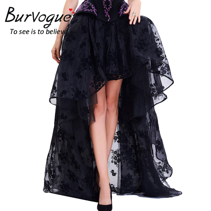 Burvogue Long Maxi Steampunk Elastic Skirts Women Black Fluffy Tulle Skirt Ruffled Chiffon Lace Midi Gothic Sexy Corset Skirt - 64 Corp