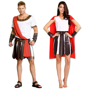Halloween Carnival Adult Ancient Roman Greece Greek Warrior Soldier Gladiator Costume Great Caesar Costumes for Men Women Couple