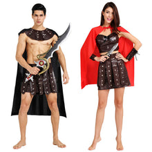 Halloween Carnival Ancient Roman Greek Soldier Gladiator Costumes Leather Spartan Warrior Costume for Adult Men Women Couple