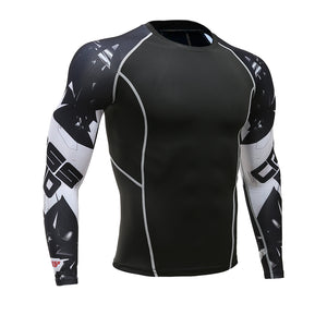 Mens Fitness Long Sleeves Rashguard T Shirt Men Bodybuilding Skin Tight Thermal Compression Shirts MMA Crossfit Workout Top Gear - 64 Corp