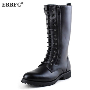 ERRFC Hot Selling Black Men Martin Boot Black Lace Up Cowboy Motorcycle Boots Men Knee High Boot Trend Leisure Shoes - 64 Corp