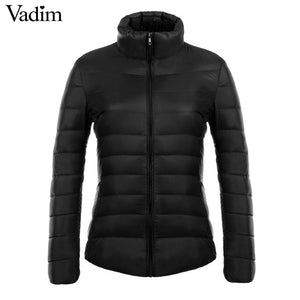 Vadim candy colors Ultra Light duck down coats basic winter jacket women Slim solid stand collar long sleeve outerwear ZC073