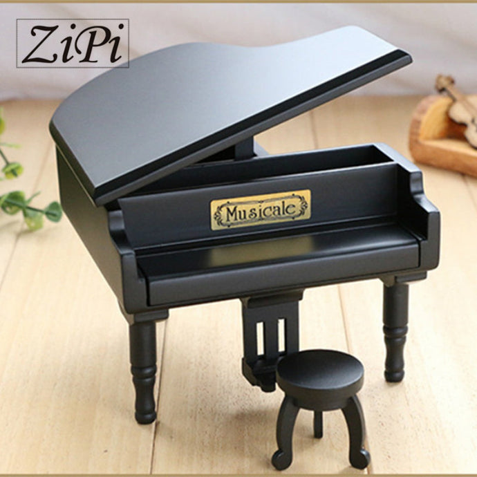 New Black Wood Piano Music Box Home Decoration Creative Gifts for Princess Love Girl Valentine's Day Christmas Birthday gift