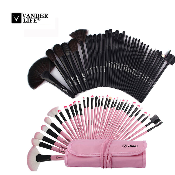 VANDER LIFE 32Pcs Makeup Brush Sets Professional Cosmetics Brushes Set Kit + Pouch Bag Case Woman Make Up Tools Pincel Maquiagem - 64 Corp