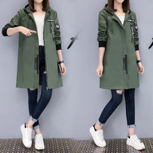 2017 New Spring Autumn Trench Coat Women Causal Long Sleeve With Hood Medium Long Army Green Female Coat Casaco Feminino Coats