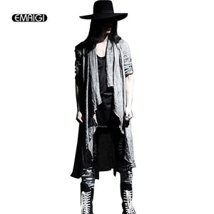 4b98f575646c Mens Vintage Long Sleeve Linen Thin Shawl Cardigan Coat Fashion Casual Male  Pull Style Punk Gothic Trench long jacket Outerwear