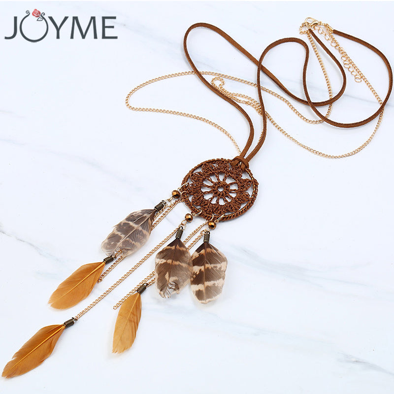 Joyme New Handmade Bohemia Style Dream Catcher Necklace with Feather Pendant Women Retro Tassel Necklace Long Boho Jewelry - 64 Corp