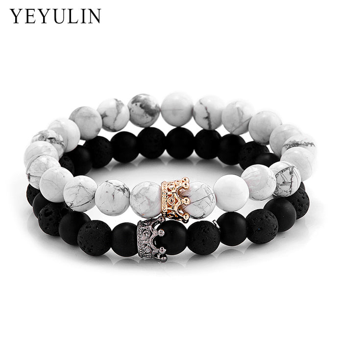 Trendy Black White Stone Beads with Gold Silver Color Alloy Crown Bracelet For Women Men Couple Bangles Jewelry - 64 Corp