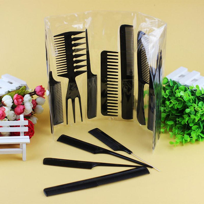 10Pcs/Set Handle Tangle Detangling Combs Plastic Anti Static Hair Care Salon Barber Comb Hairbrush Hairs Styling Tools Y - 64 Corp