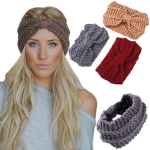 Girls Soft Knitted Fabric Headband Female Wool Winter Warm Turban Hair Accessories for Women Crochet Head Wrap Stretch Headdress - 64 Corp