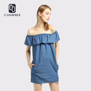 CHURSES Women dress New Fashion Designer Loose Slash neck Jeans Dresses Summer Casual Sleeveless ladies elegant Denim Dresses - 64 Corp