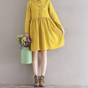 Turn Down Collar Pineapple Embroidered Artsy Corduroy Autumn Dress - 64 Corp