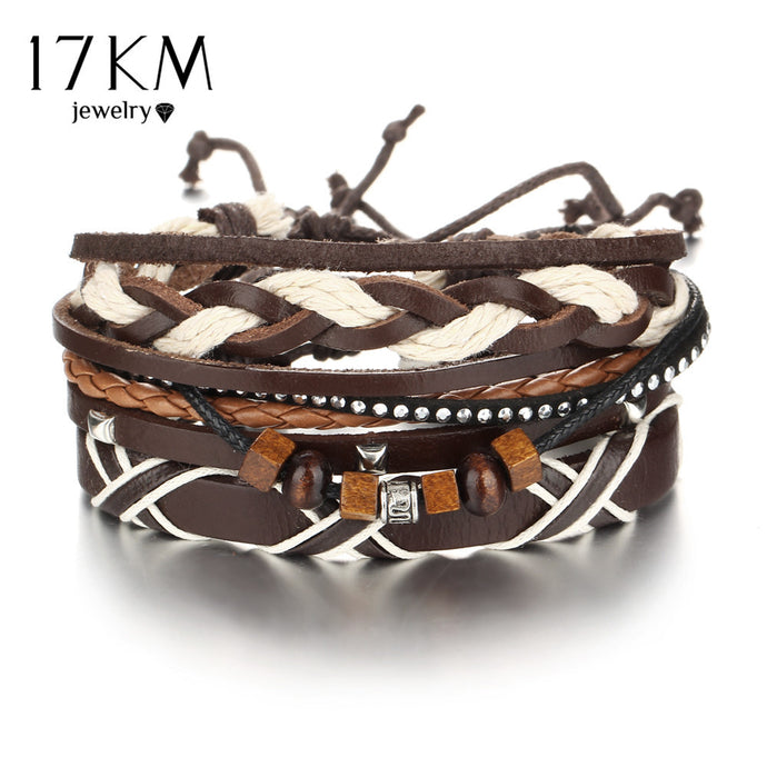 17KM Vintage Multiple layers Punk Wood beads Bracelets & Bangle for Women New Boho Rivet Bracelet Men Female Jewelry - 64 Corp