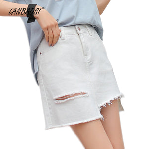LANBAOSI White Ripped Jeans Miniskirts for Women High Waist Frayed Hem Denim Mini Skirts Cowgirl Female Jean Skirt - 64 Corp