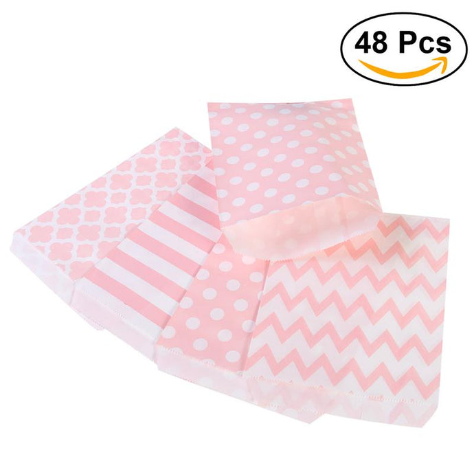48pcs Striped Polka Dot Chevron Wedding Candy Bar Bags Party Gift Bags Paper Bag Wedding Party Favor Gift Bag - 64 Corp