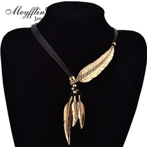 Collier Femme Feather Necklaces & Pendants Rope Leather Vintage Maxi Colar For Statement Necklace Women Fashion Jewelry Bijoux - 64 Corp