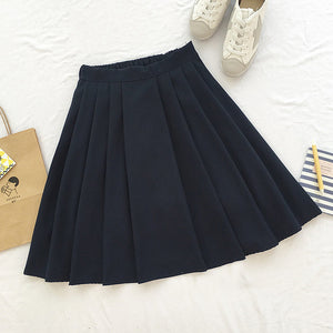 2017 new winter girls skirts pleated schoolgirls skirt uniforms cos high waist solid pleated skirt female mid retro boot skirt - 64 Corp