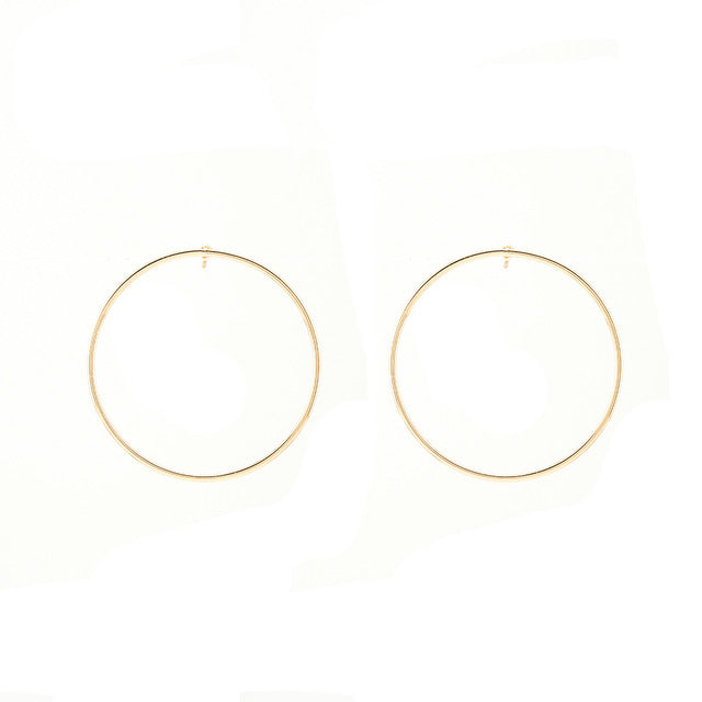 2017 Fashion Lady Delicate Copper Minimalist Style Solid Geometry Round Beautiful Earrings Stud Earrings - 64 Corp