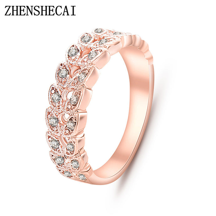 Top Quality Gold Concise Classical CZ Crystal Wedding Ring Rose Gold Color Austrian Crystals Wholesale  nj92 - 64 Corp