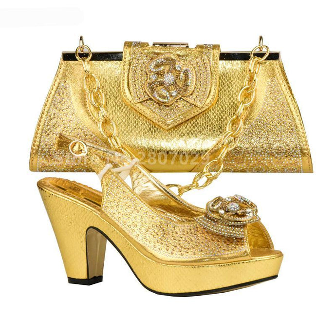 Gold Color Italian Shoes with Matching Bags - 64 Corp