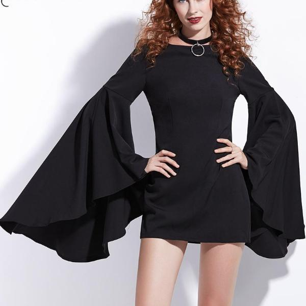 Mini Dresses Black Flare Sleeve - 64 Corp