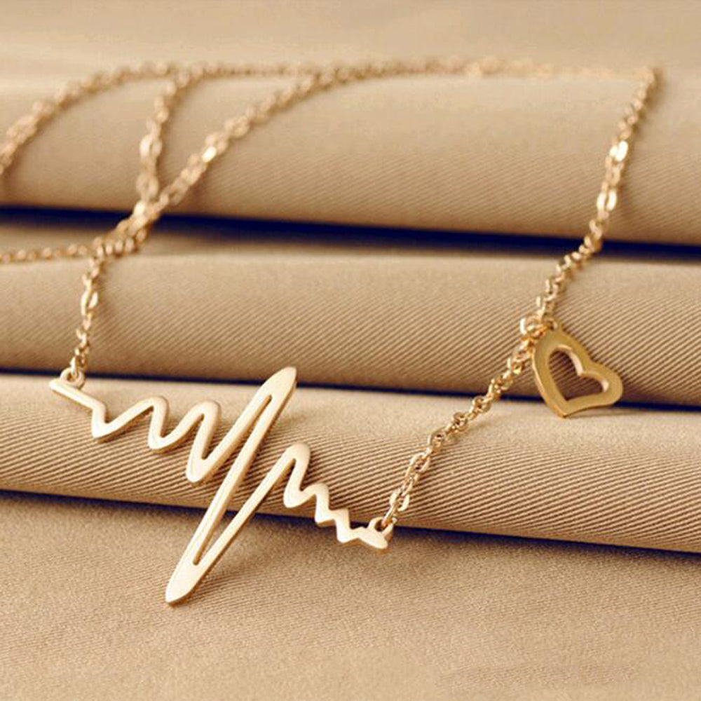 2016 Hot Simple Wave Heart Necklace Chic ECG Heartbeat Gold Pendant Charm Lightning Necklace for Women Vintage Jewelry - 64 Corp