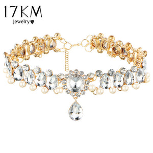 17KM Boho Collar Choker Water Drop Crystal Beads Choker Necklace &pendant Vintage Simulated Pearl Statement Beads Maxi Jewelry - 64 Corp