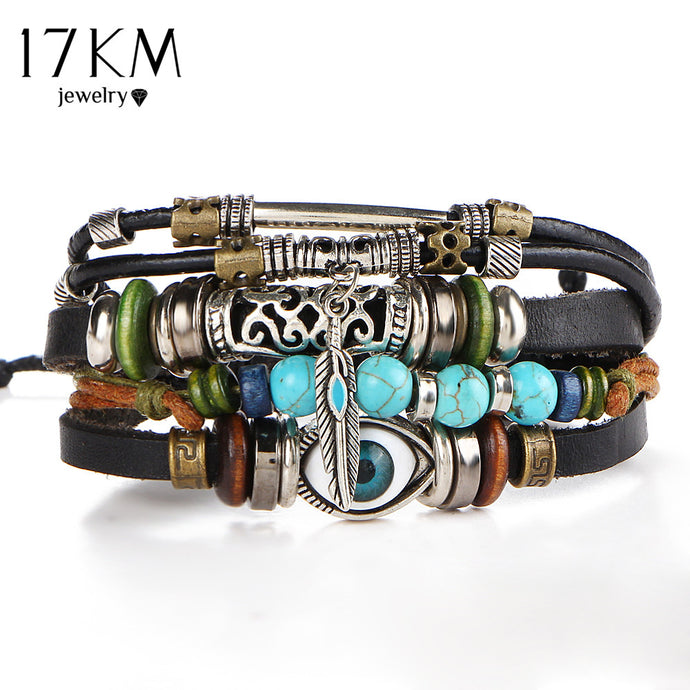 17KM Punk Design Turkish Eye Bracelets For Men Woman New Fashion Wristband Female Owl Leather Bracelet Stone Vintage Jewelry - 64 Corp
