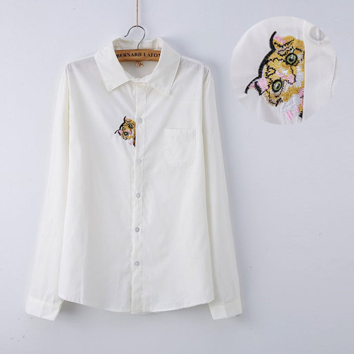13 Patterns Preppy Style White Blouse Girls Cotton Cute Cat Embroidery White Shirt Top For Women Long Sleeve T51262 - 64 Corp