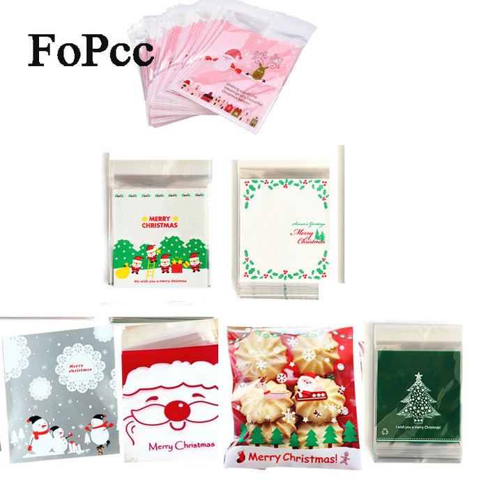 25Pcs Christmas Plastic Gift Bags Self-adhesive Cookies Packaging Bags Biscuits Snack Candy Cake Packing Bags Xmas Party Favors