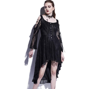 Asymmetrical Dress Black Lace Hollow Fashion Casual Dress - 64 Corp
