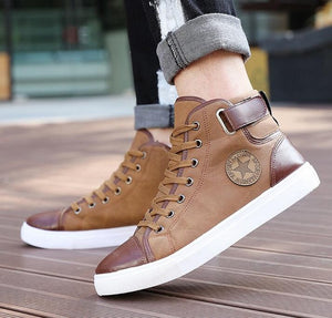 2017 New Arrive Men Causal Shoes Autumn Winter Front Lace-Up Leather Ankle Boots Shoes Man Casual High Top Canvas Men H29 - 64 Corp