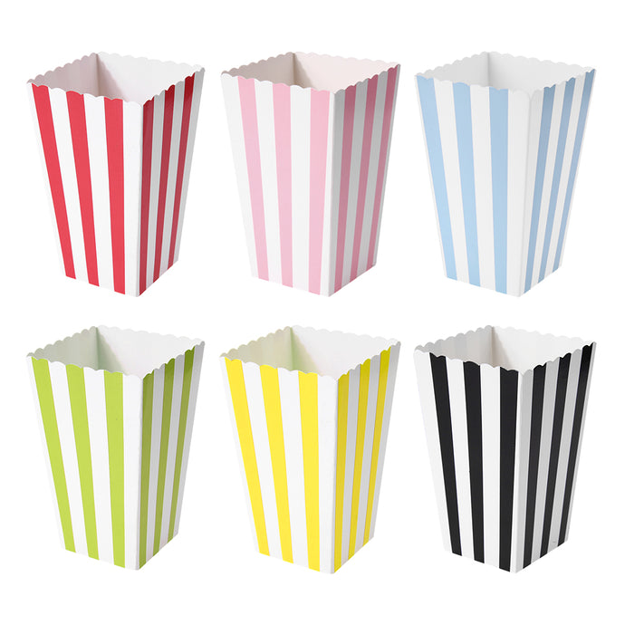 12pcs Striped Paper Popcorn Boxes Candy Snack Christmas Gift Box - 64 Corp