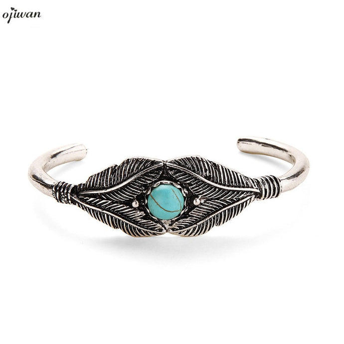 Boho Bracelet Femme Open Leaf Cuff Bangle Tribal Bracelet Ethnic Indian Bracelet Native American Jewelry Navajo dropshipping - 64 Corp