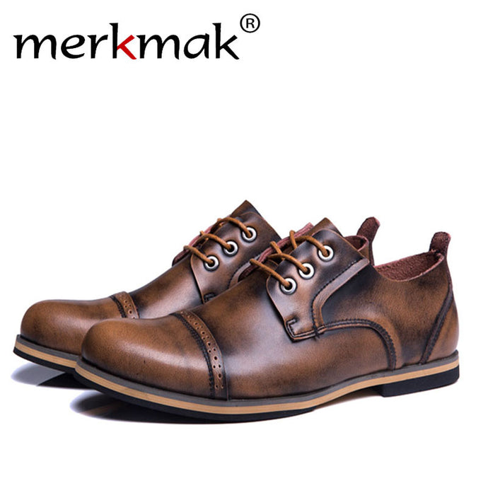 Merkmak Big Size Men Genuine Leather Boots Fashion Vintage Autumn Cowboy Martine Ankle Boot for Man Flat Footwear 38-47 Dropship - 64 Corp
