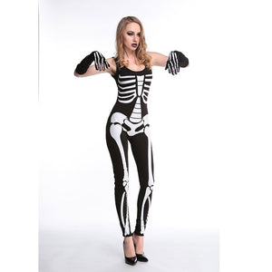 Skeleton Printed Zombie jumpsuit costume Halloween Harror Zombie Costume Sexy Bone Gothic Bodysuit fancy costume w1803