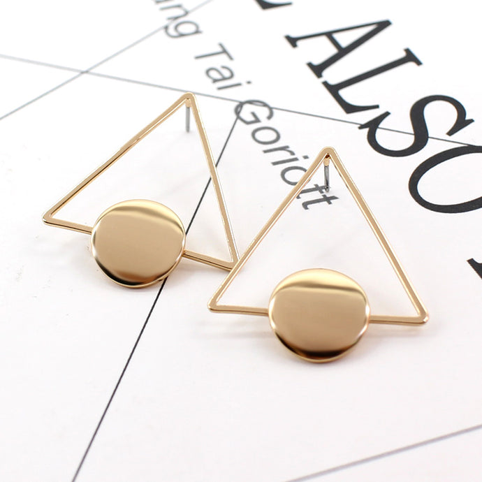 Large Hollow Metal Big Triangle Stud Earrings Minimalist - 64 Corp