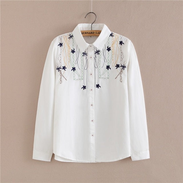 3c69af34f5dfd Preppy White Blouse Collection 13 Pattern Women Cotton Lace Crochet Peter  Pan Collar Long Sleeve Top