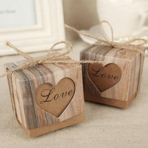 Romantic Vintage Heart Kraft Paper Candy Box - 64 Corp