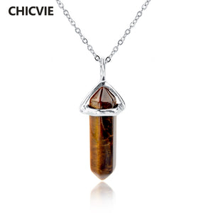 CHICVIE Natural Stone Long Necklace For Women Silver Color Statement DIY Necklaces Pendants Ethnic Jewelry Accessories SNE150808 - 64 Corp