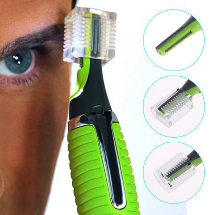 Unisex Personal Men Hair Trimmer Shaver Hair Removal Ear Nose Mustache Beard Grooming Kit with LED Light Green - 64 Corp