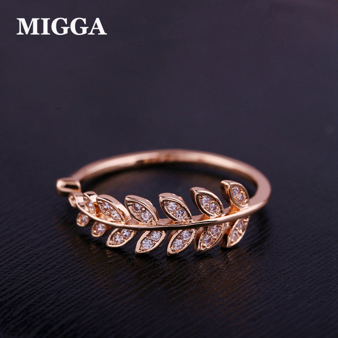 MIGGA Cubic Zircon Leaf Crystal Ring for Women Ladies Girls Rose Gold Color Fashion Chic Bague Jewelry - 64 Corp