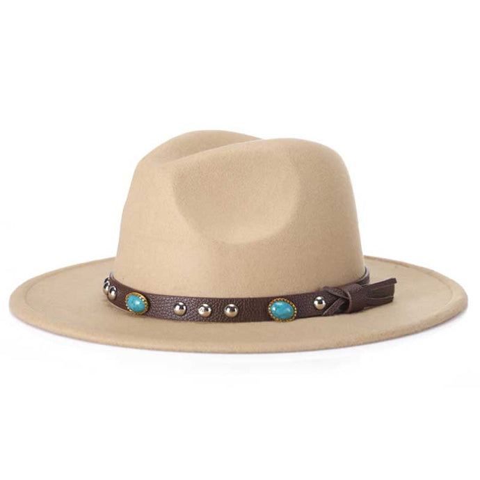 2017 new Men Women Wool Felt Sombrero Cap Fedora Hat Western Cowboy Cowgirl Cap Jazz hat Sun Hat Toca Cap with leather band - 64 Corp