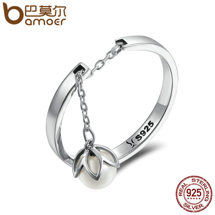 BAMOER Genuine 925 Sterling Silver Tears Of Flowers Dangle Open Finger Rings for Women Luxury Sterling Silver Jewelry SCR165 - 64 Corp