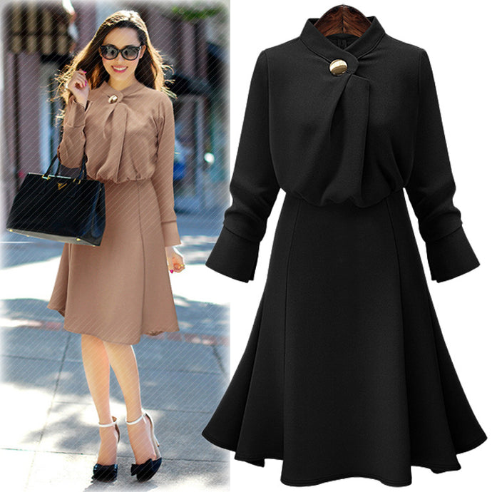 2017 Autumn New Simple Solid Color Defined Waist Dress Long-sleeved Chiffon A-line Dress AXD2047 - 64 Corp