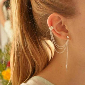 Punk Rock Style Woman Young Gift Leaf Chain Tassel Earrings - 64 Corp
