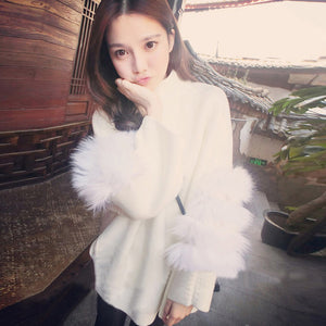 Women Oversized Fur Sweater - 64 Corp